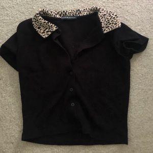 Black Brandy Melville Cheetah Polo Top